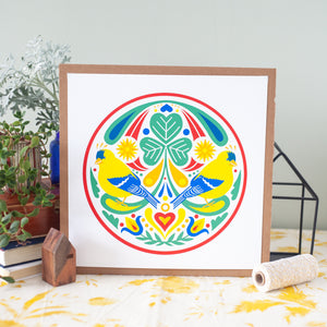 yellow finch hex sign art print by exit343design