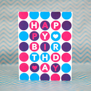 bright polka dot happy birthday card by exit343design