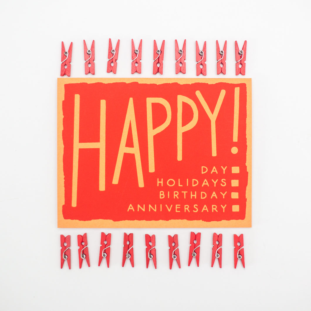 happy choose-your-own occasion card, happy birthday card, checklist card by exit343design