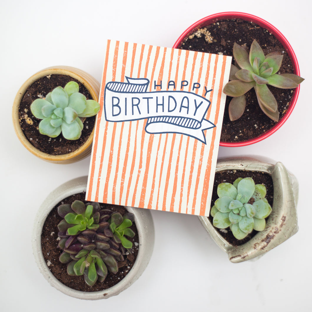 block-printed happy birthday card, birthday banner card, preppy birthday card