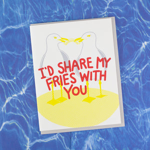 funny love card with seagulls eating a french fry by exit343design