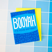 BOOYAH irreverent birthday card, blue happy birthday card