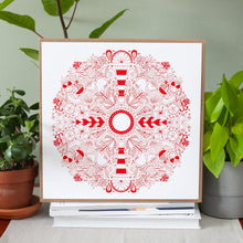 beach themed art print in red ink with shore icons