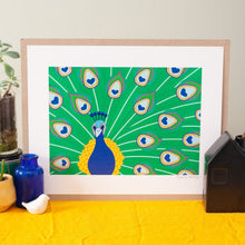art print featuring an ornate stylized peacock illustration