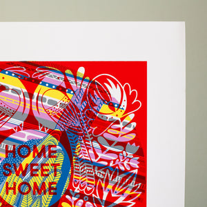 test print number four, OOAK art print, one of a kind Home Sweet Home print