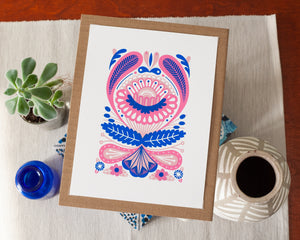 paisley print art print in blue and pink