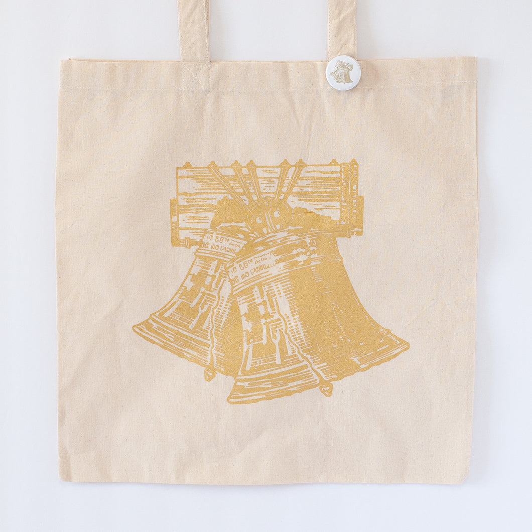 liberty wedding bells tote bag in metallic gold