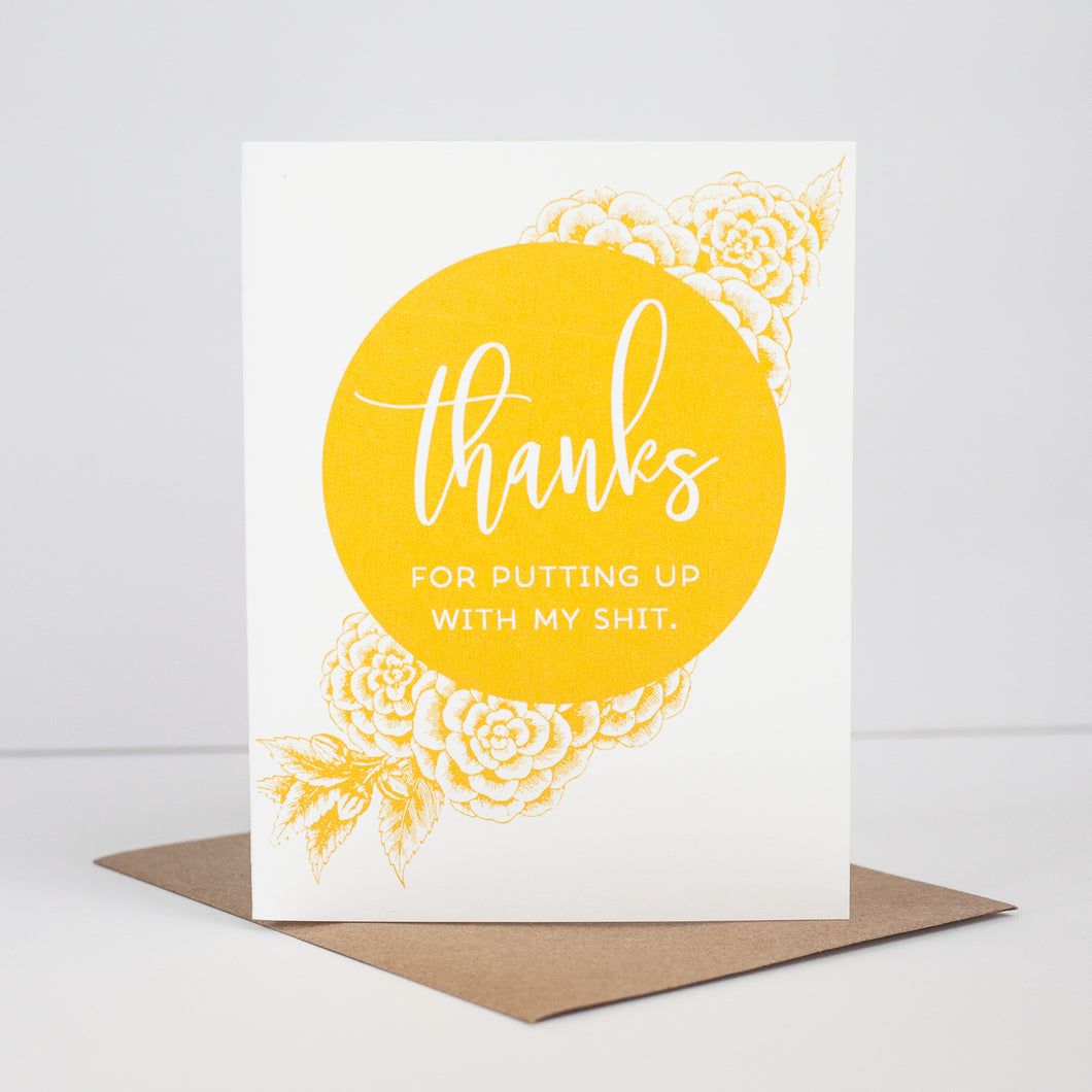 thanks for putting up with my shit, a funny thank you card for a bridesmaid or for a friend by exit343design