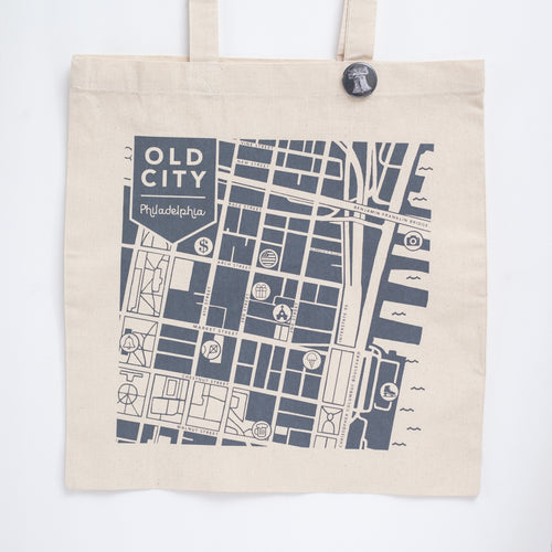 Old City Philadelphia map tote bag by exit343design