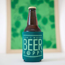 craft beer gift idea, home brewer gift idea, beer is hoppy can koozie by exit343design