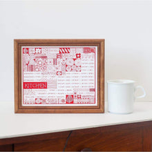 Pyrex and vintage inspired kitchen conversion art print in red, printed by exit343design