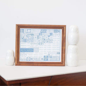 Pyrex and vintage inspired kitchen conversion art print in light blue, printed by exit343design