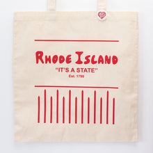 Rhode Island is a state tote bag inspired by the Awful Awful drink