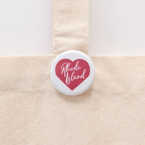 heart and rhode island pinback button