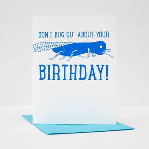 Rhode Island birthday card, Big Blue Bug card, funny birthday card, Nibbles Woodaway card