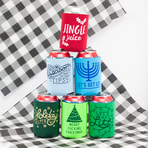 funny holiday can koozies by exit343design, easy stocking stuffers, easy coworker gifts