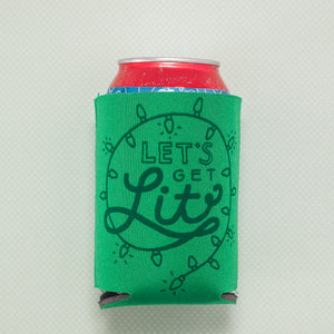 let's get lit holiday stocking stuffer idea, funny Christmas drink holder, easy coworker gift by exit343design