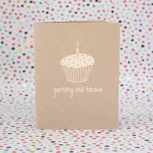 getting old blows cupcake birthday card by exit343design