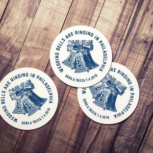 CUSTOM wedding coaster Philadelphia wedding bells