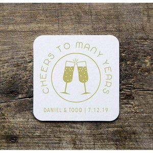 CUSTOM wedding coaster cheers to many years