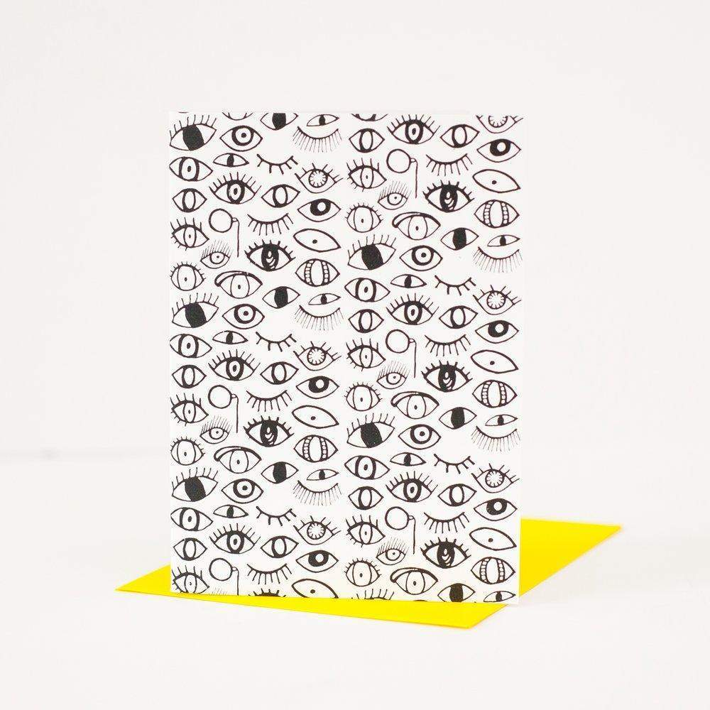 eyeball patterned greeting card by exit343design, Halloween card, congratulations card