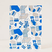 Christmas stocking pattern greeting card in blue and silver by exit343design