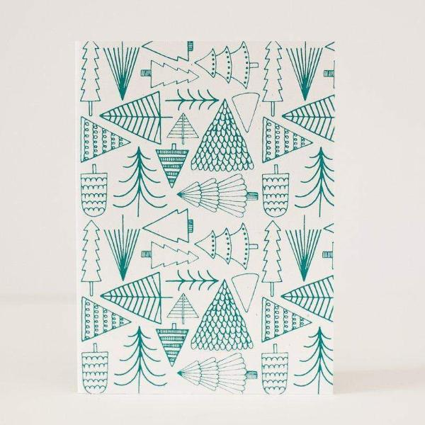 evergreen tree pattern Christmas card by exit343design