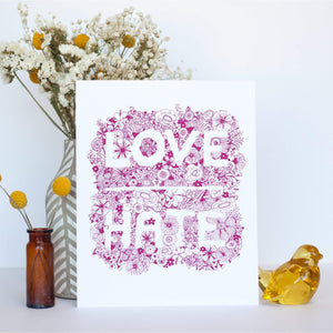 love over hate floral art print by exit343design
