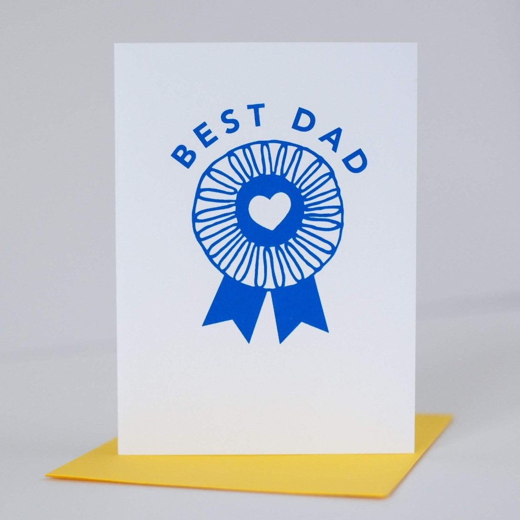Fathers Day Card Blue Ribbon Best Dad Exit343design