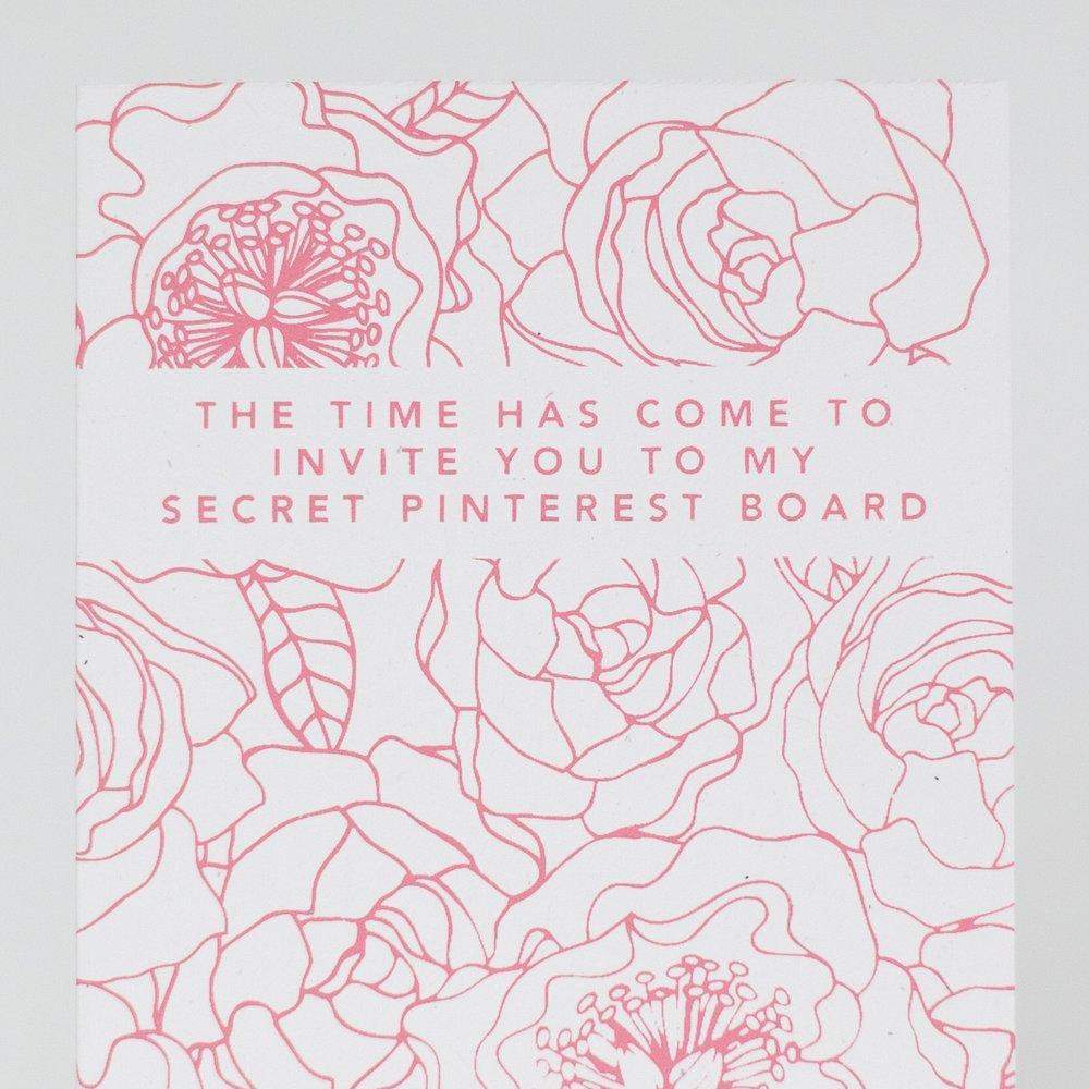 funny card for asking bridesmaid, invite me to your secret Pinterest board