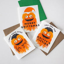 Gritty mascot, Flyers fan, funny Philly Christmas card, Merry Grittsmas