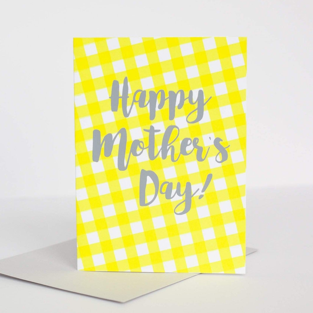 happy mother's day gingham pattern card by exit343design