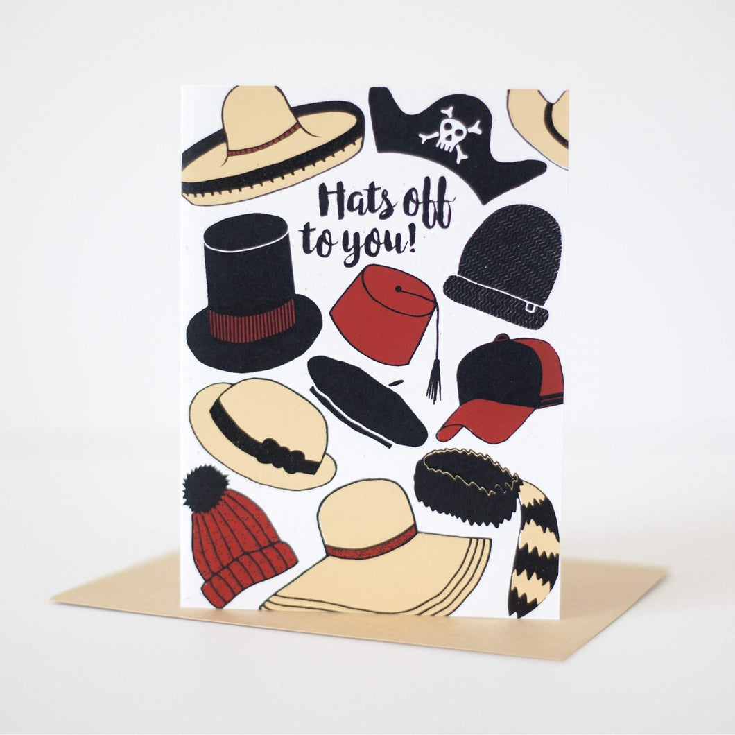 hats off to you congratulations card, unique graduation card by exit343design