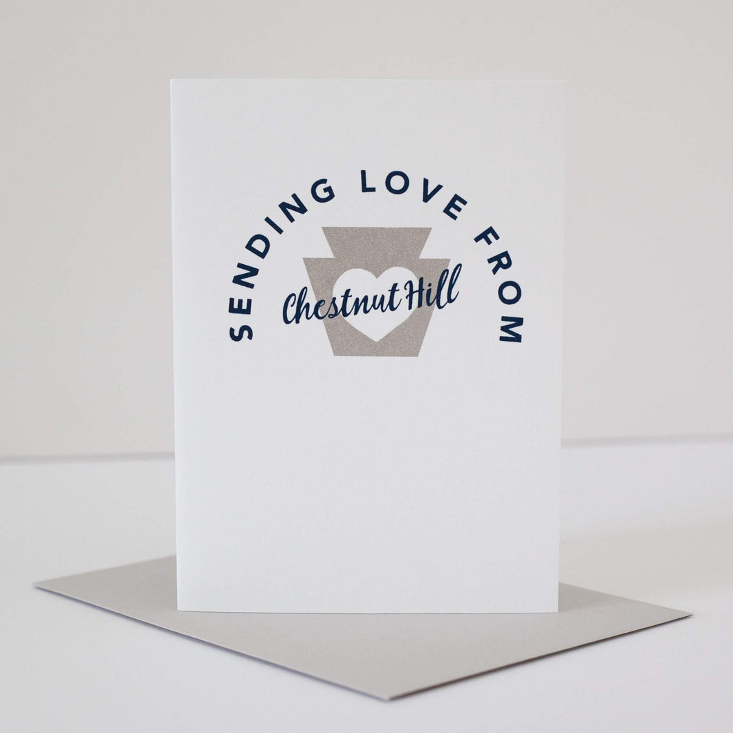 sending love from Chestnut Hill greeting card by exit343design