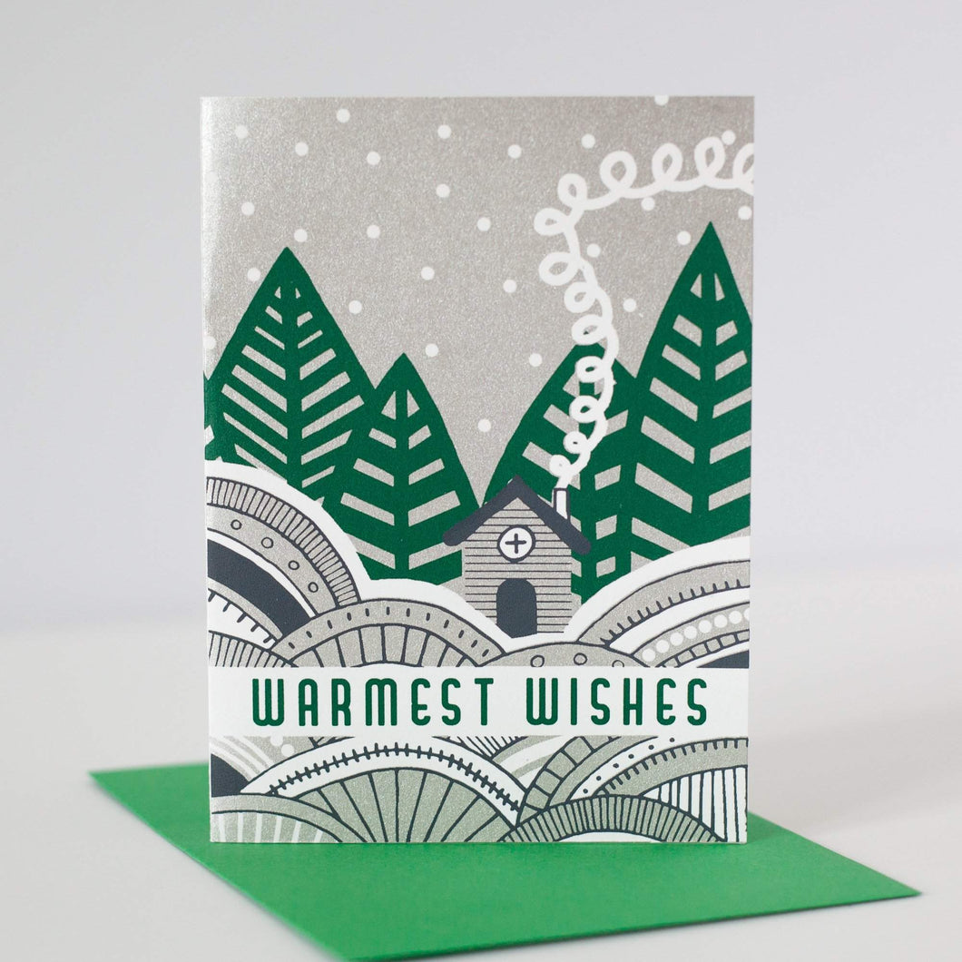 warmest wishes winter scene Christmas card by exit343design