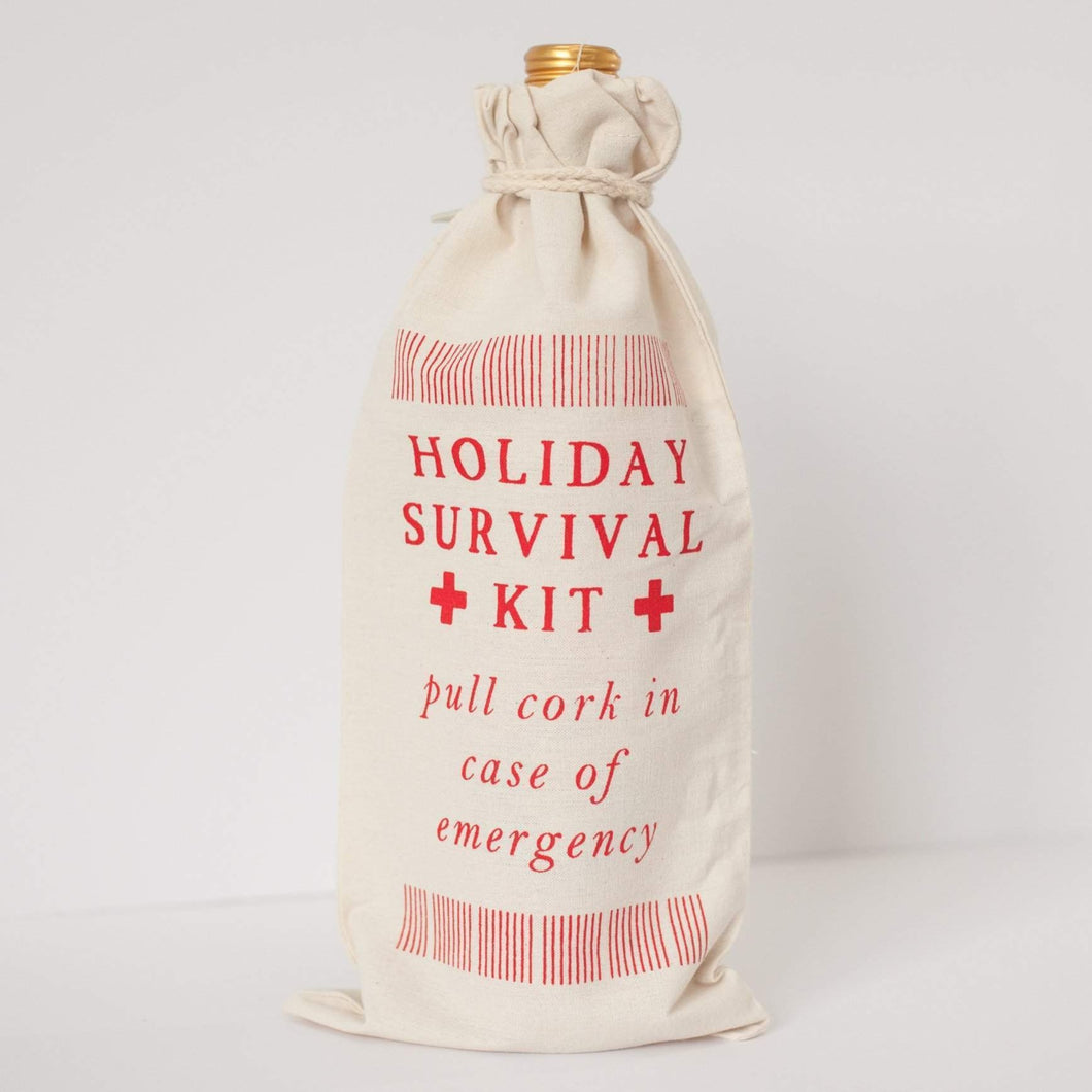 holiday survival kit, Christmas wine gift bag, funny stocking stuffer by exit343design