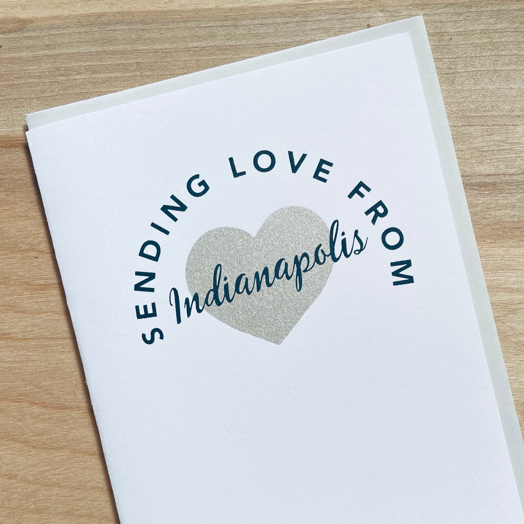 sending love from Indianapolis, Indiana greeting card by exit343design