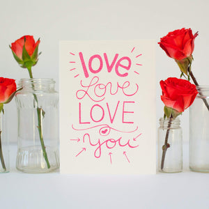 love love love greeting card, valentines card by exit343design