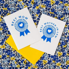 best mom award card, blue ribbon Mother's Day greeting card by exit343design