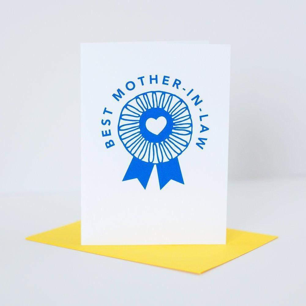 best mother-in-law award card, blue ribbon Mother's Day greeting card by exit343design