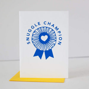Snuggle Champion card blue ribbon award