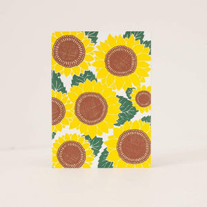 sunflower patterned card, blank floral card, all occasion card by exit343design