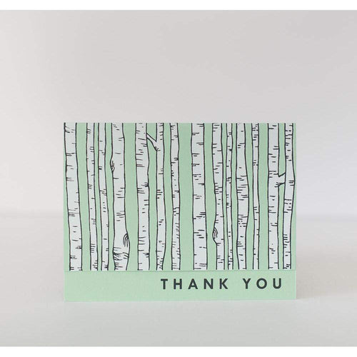 white birch tree thank you cards in mint green by exit343design