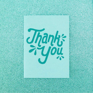 retro teal thank you card with hand drawn type by exit343design