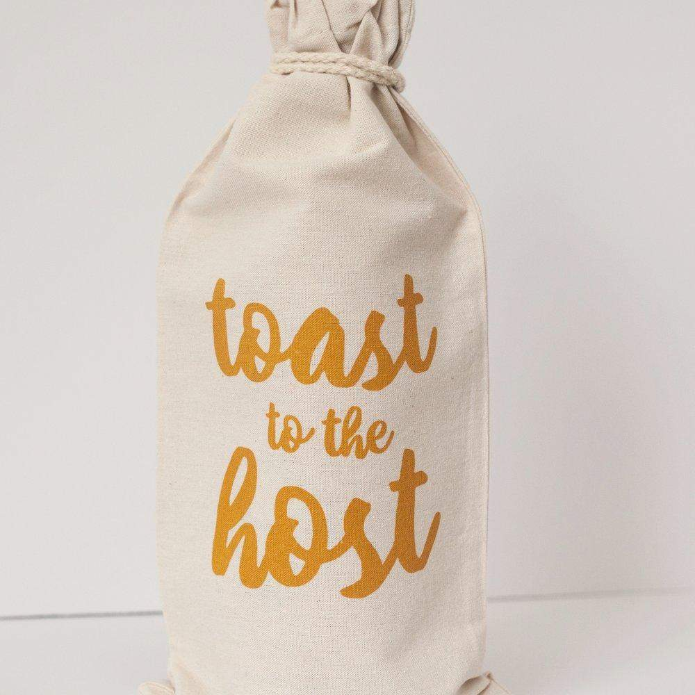 toast to the host wine bag, gift idea for party hostess by exit343design