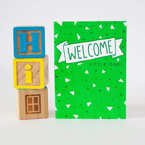 gender neutral baby shower card, green new baby card by exit343design