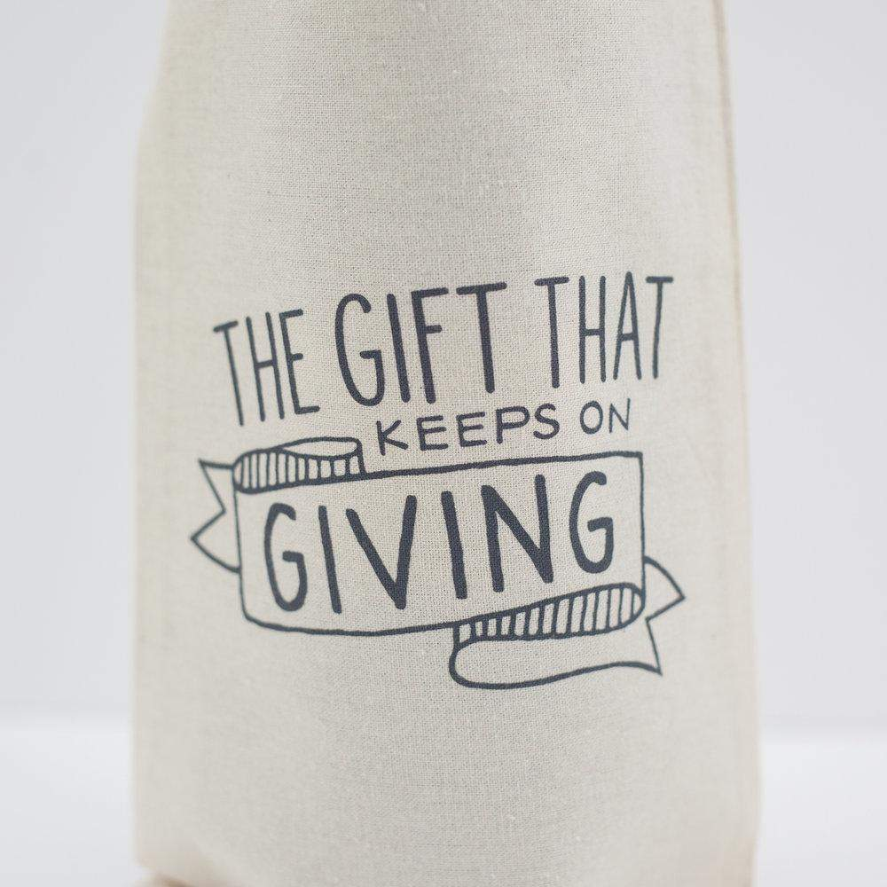 funny wine gift bag, the gift that keeps on giving gift bag by exit343design