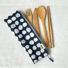 Travel Bamboo Cutlery Pouch Set Indigo Pebbles Singapore