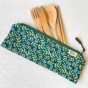 Travel Bamboo Cutlery Pouch Set Falling Leaves Singapore