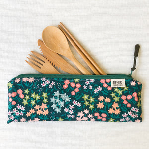 Travel Bamboo Cutlery Pouch Set Forget Me Not Singapore